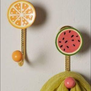 Anthropologie Fruit Wall Hooks NWOT